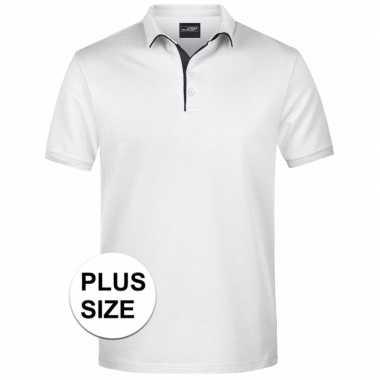 Grote maten polo golf pro premium wit/zwart heren t-shirt kopen