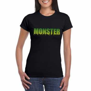 Halloween halloween monster tekst zwart dames t-shirt