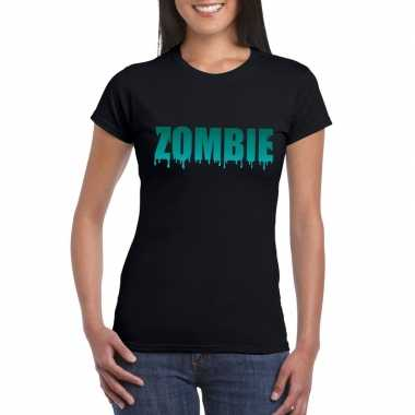 Halloween halloween zombie tekst zwart dames t-shirt