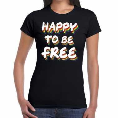 Happy to be free gaypride zwart dames t-shirt kopen
