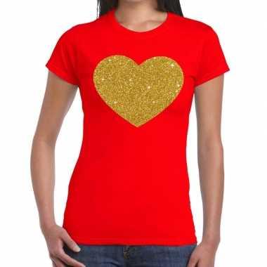 Hart goud glitter fun rood dames t-shirt kopen