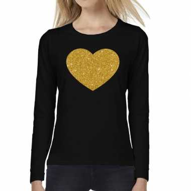Hart goud glitter long sleeve zwart dames t-shirt kopen