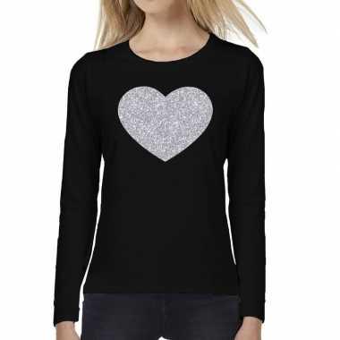 Hart zilver glitter long sleeve zwart dames t-shirt kopen