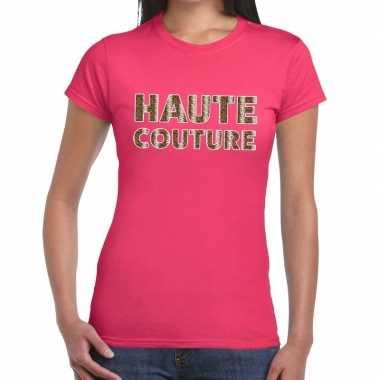 Haute couture slangen print tekst roze dames t-shirt kopen