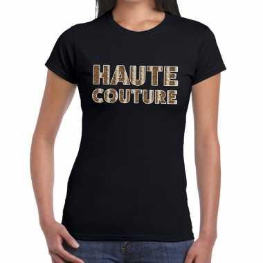 Haute couture slangen print tekst zwart dames t-shirt kopen