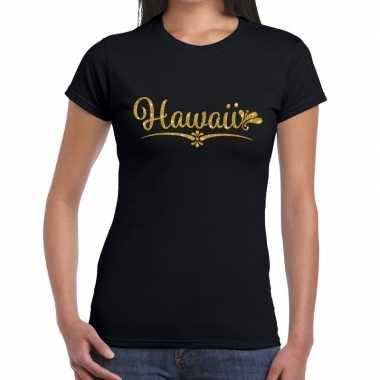 Hawaii gouden glitter tekst zwart dames t-shirt kopen