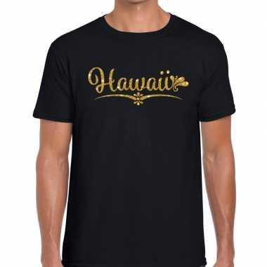 Hawaii gouden glitter tekst zwart heren t-shirt kopen