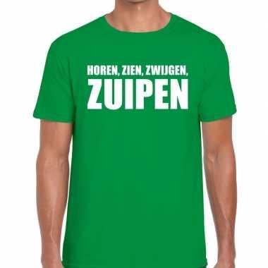 Horen zien zwijgen zuipen tekst groen heren t-shirt kopen