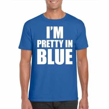 I am pretty blue tekst blauw heren t-shirt kopen