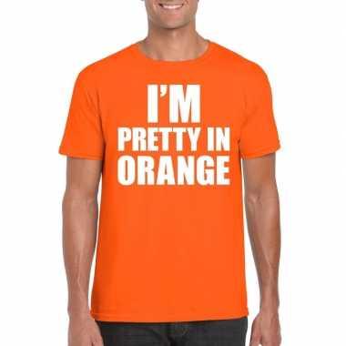 I am pretty orange tekst oranje heren t-shirt kopen