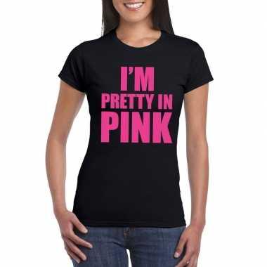 I am pretty pink tekst zwart dames t-shirt kopen