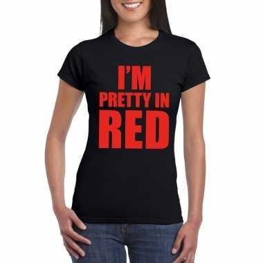 I am pretty red tekst zwart dames t-shirt kopen