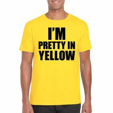 I am pretty yellow tekst geel heren t-shirt kopen