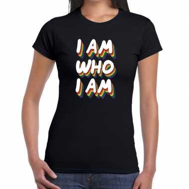 I am who i am gaypride zwart dames t-shirt kopen