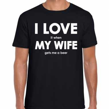 I love my wife gets me beer zwart heren t-shirt kopen