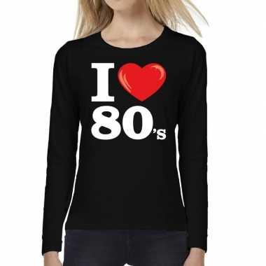 I love s / eighties long sleeve zwart dames t-shirt kopen