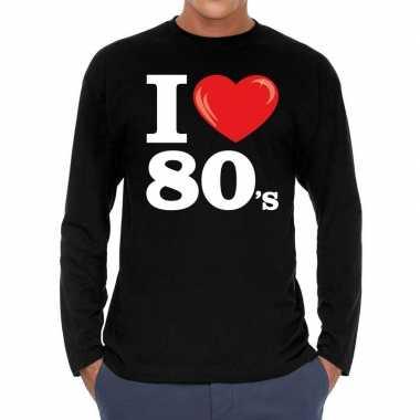 I love s / eighties long sleeve zwart heren t-shirt kopen