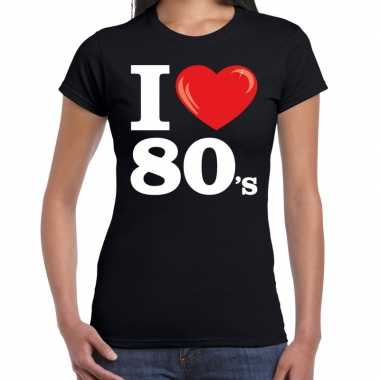 I love s / eighties zwart dames t-shirt kopen