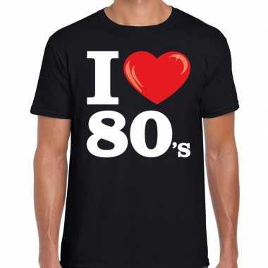I love s eighties zwart heren t-shirt