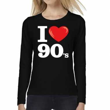 I love s nineties long sleeve zwart dames t-shirt