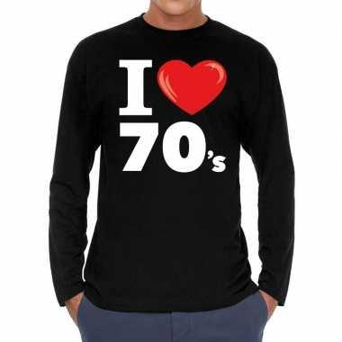 I love s / seventies long sleeve zwart heren t-shirt kopen