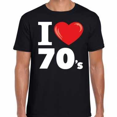 I love s / seventies zwart heren t-shirt kopen