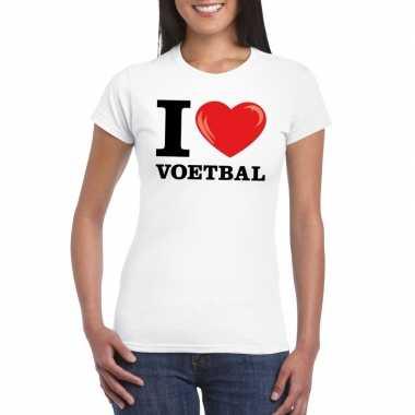 I love voetbal wit dames t-shirt