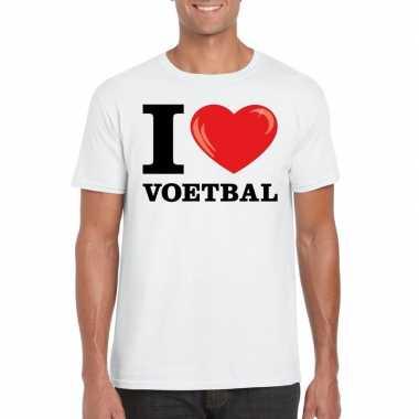 I love voetbal wit heren t-shirt