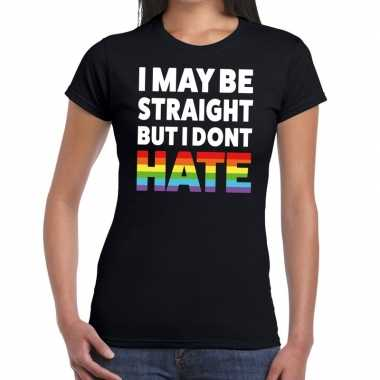 I may be straight but i dont hate gaypride zwart dames t-shirt kopen