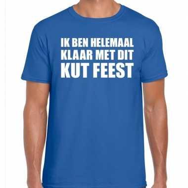 Ik ben helemaal klaar dit kut feest blauw heren t-shirt kopen