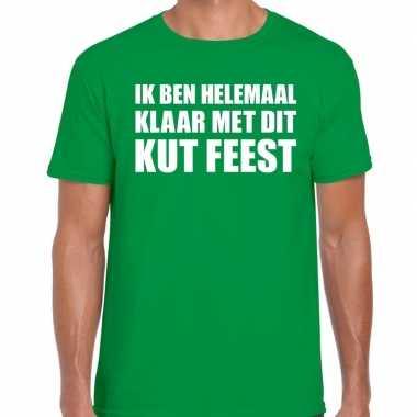 Ik ben helemaal klaar dit kut feest groen heren t-shirt kopen