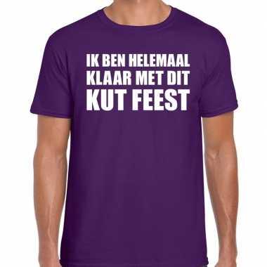 Ik ben helemaal klaar dit kut feest paars heren t-shirt kopen