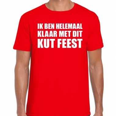 Ik ben helemaal klaar dit kut feest rood heren t-shirt kopen