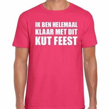 Ik ben helemaal klaar dit kut feest roze heren t-shirt kopen