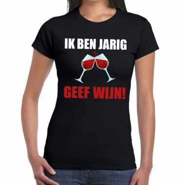 Ik ben jarig geef wijn zwart dames t-shirt kopen