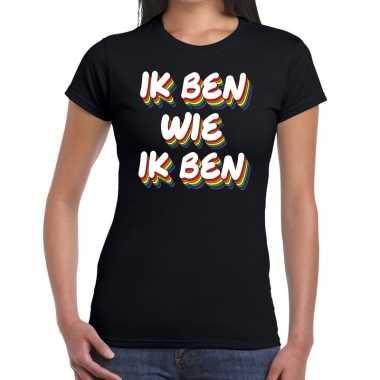 Ik ben wie ik ben gaypride zwart dames t-shirt kopen