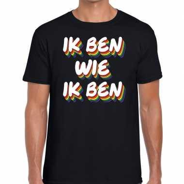 Ik ben wie ik ben gaypride zwart heren t-shirt kopen