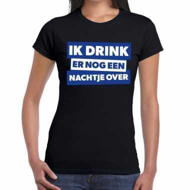 Ik drink er nog een nachtje over tekst zwart dames t-shirt kopen