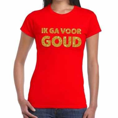Ik ga goud tekst rood dames t-shirt kopen