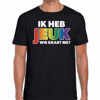 Ik heb jeuk wie krabt me? regenboog gaypride zwart he t-shirt kopen
