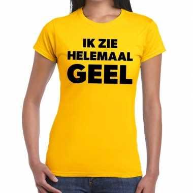 Ik zie helemaal geel tekst dames t-shirt kopen