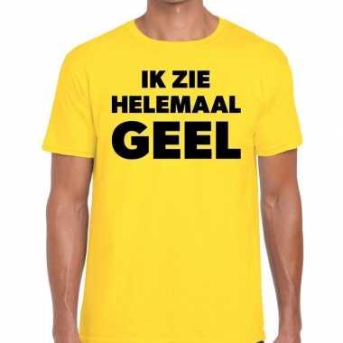 Ik zie helemaal geel tekst geel heren t-shirt kopen