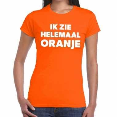 Ik zie helemaal oranje tekst dames t-shirt kopen
