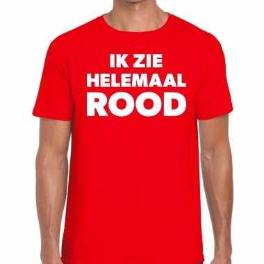 Ik zie helemaal rood tekst rood heren t-shirt kopen