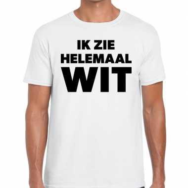 Ik zie helemaal wit tekst wit heren t-shirt kopen