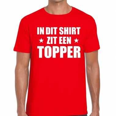 In di zit een topper rood heren t-shirt kopen