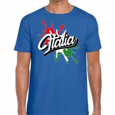 Italia/italie spetter blauw heren t-shirt kopen