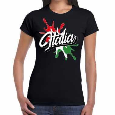 Italia/italie spetter zwart dames t-shirt kopen