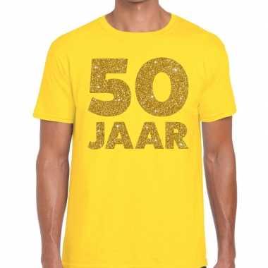 Jaar goud glitter verjaardag geel heren t-shirt kopen
