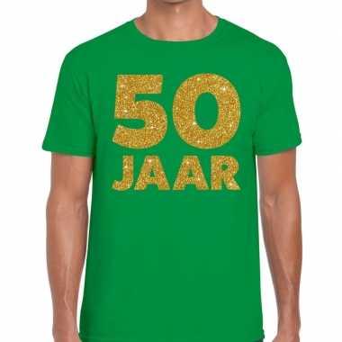 Jaar goud glitter verjaardag groen heren t-shirt kopen